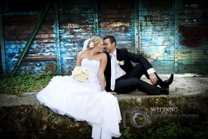 Wedding photographers at old shed location.